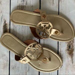 Tory Burch Gold Miller Logo Flip Flop Sandals